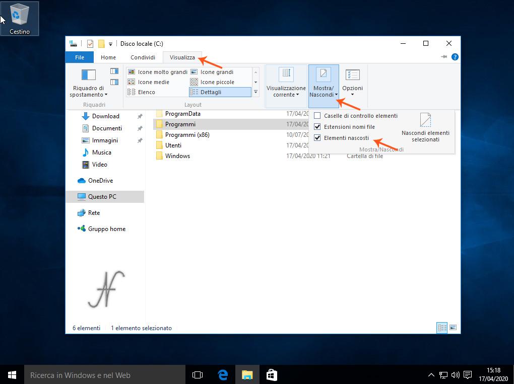 Esplora File, Windows 10, Mostra elementi nascosti, c:\Programmi\WindowsApps