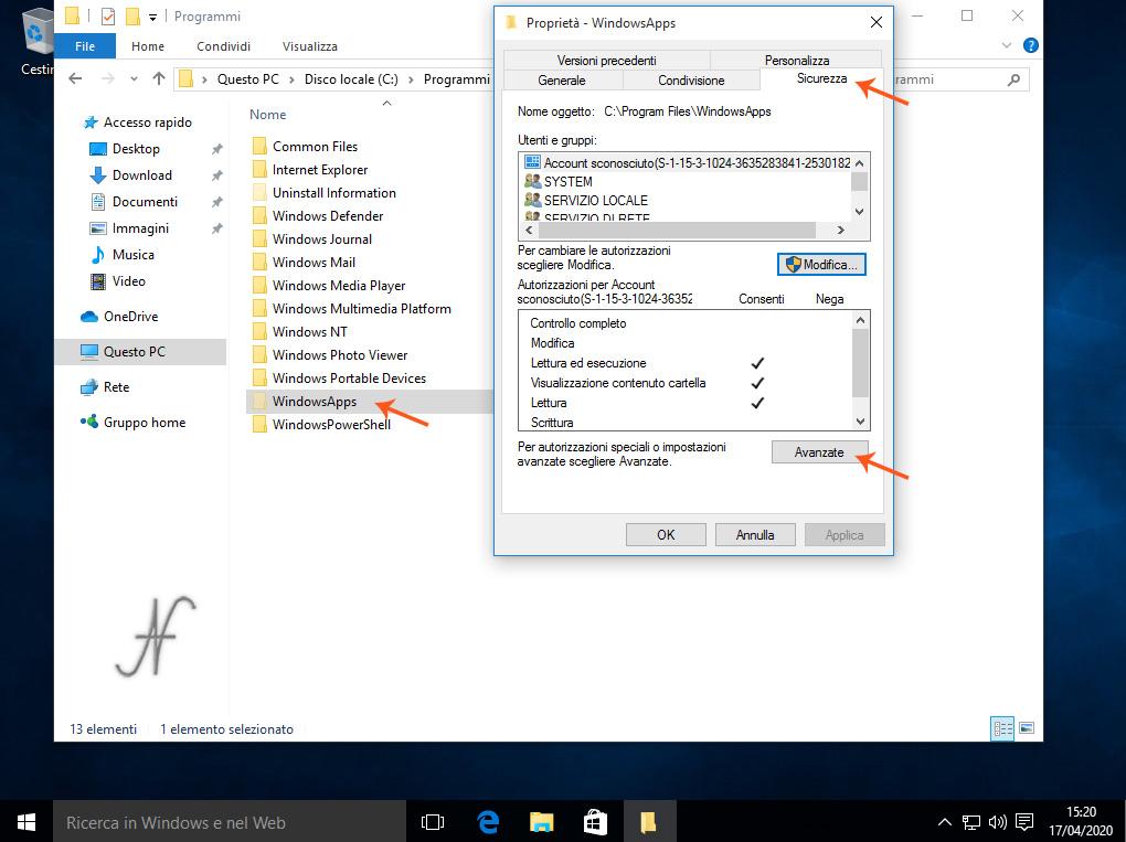 Windows 10 -(12)- Proprietà sicurezza avanzate, C:\Programmi\WindowsApps