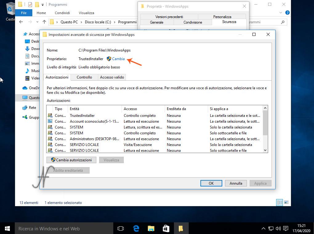 Windows 10 -(13)- Disinstallazione App preinstallate, cambio proprietario, TrustedInstaller, Impostazioni avanzate di sicurezza per WindowsApps, Rimozione definitiva delle App preinstallate di Windows 10