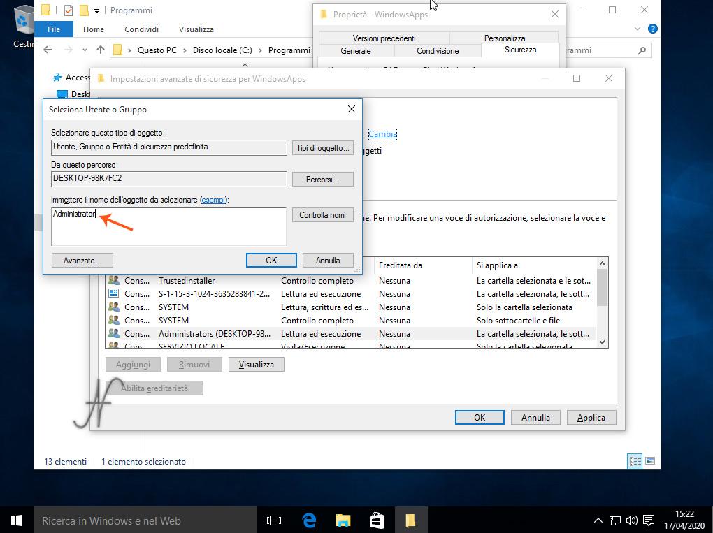 Windows 10, disinstallazione App default, utente, proprietario, sicurezza, Rimozione definitiva delle App preinstallate di Windows 10