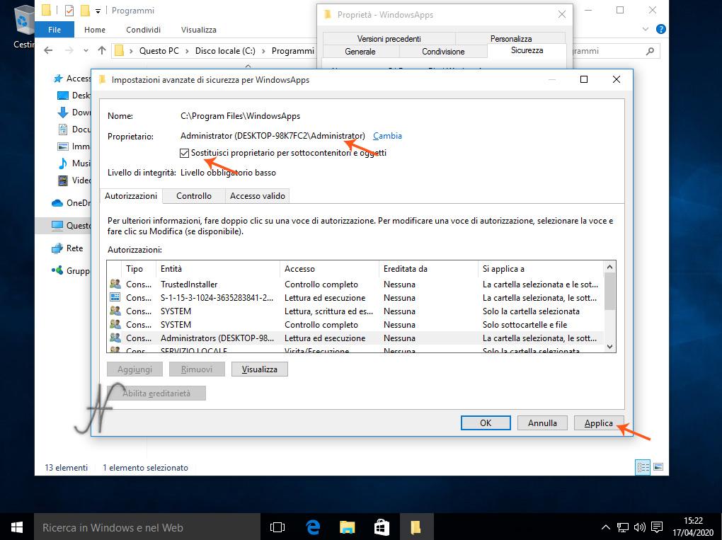 Windows 10, Diventare proprietario WindowsApps, Sostituisci proprietario per sottocontenitori e oggetti