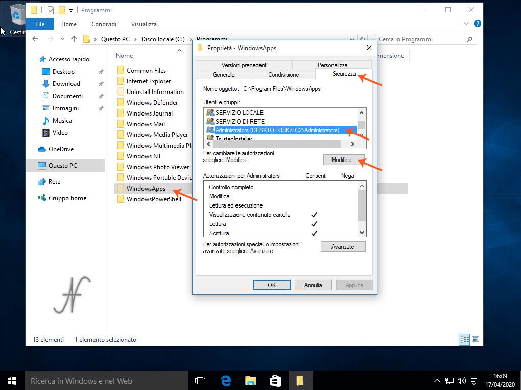 Windows 10, abilitare modifica cartella C:\Programmi\WindowsApps, Rimozione definitiva delle App preinstallate di Windows 10