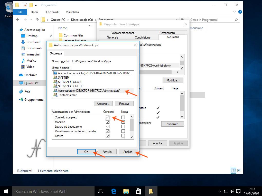 Windows 10, abilitare modifica cartella C:\Programmi\WindowsApps, controllo completo, modifica, Rimozione definitiva delle App preinstallate di Windows 10