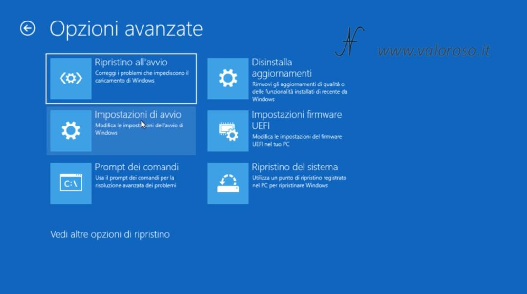 Windows 10 disabilitare controllo imposizione firma driver schermo blu, impostazioni di avvio