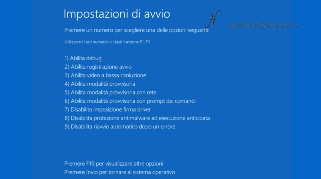 Windows 10 disabilitare disabilita imposizione firma driver schermo blu tasto 7